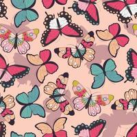 Modèle sans couture avec des papillons colorés dessinés à la main