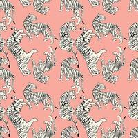 Modèle sans couture de tigre dessiné à la main