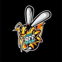 Emblème de mascotte d'abeille vecteur