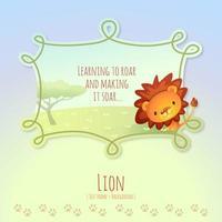 lion africain de dessin animé avec légende de bloc de texte