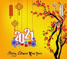 nouvel an chinois suspendu 2021 avec des fleurs sur jaune vecteur