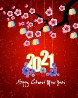 nouvel an chinois suspendus affiche 2021 sur rouge avec des fleurs vecteur