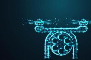 drone photo et vidéo filaire polygonale vecteur