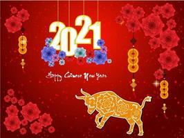affiche du nouvel an chinois 2021 rouge brillant avec boeuf et fleurs vecteur