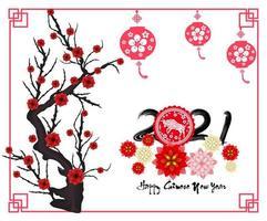nouvel an chinois 2021 année du bœuf avec branche et fleurs vecteur
