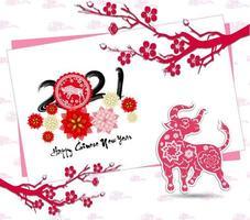 carte inclinée nouvel an chinois 2021 avec bœuf et branches vecteur