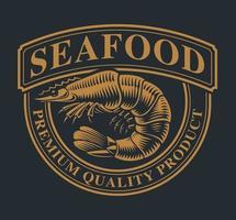 emblème vintage avec une crevette vecteur
