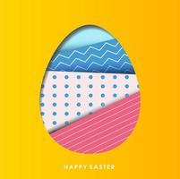 découpe d'oeuf de Pâques à motifs sur jaune vecteur