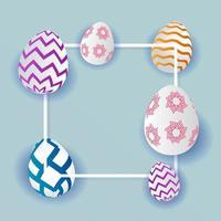 oeufs de Pâques à motifs et cadre blanc vecteur
