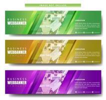 ensemble de bannière horizontale design diagonal coloré