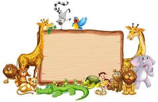 modèle de bordure avec des animaux marrants vecteur