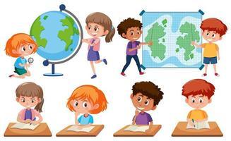 enfants avec des outils d'apprentissage vecteur