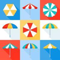jeu d'icônes de parasol vecteur