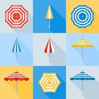 ensemble de style plat de parasol