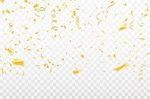 confettis et rubans d'or vecteur