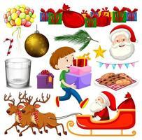 ensemble d'objets isolés du thème de Noël