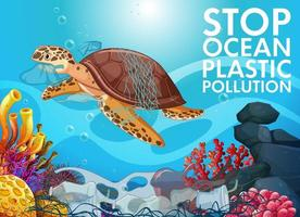 arrêter la pollution plastique des océans vecteur