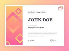 Employé moderne du certificat du mois
