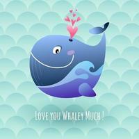 baleine marine heureuse souffle coeurs d'amour vecteur
