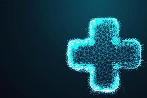 Croix de santé médicale en style poly bleu nuit