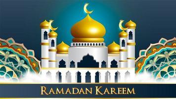 ramadan kareem mosquée de conception islamique avec minarets vecteur
