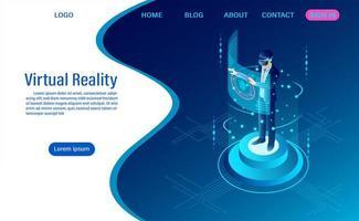 page de destination de réalité virtuelle vecteur