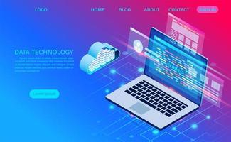 page de destination du gradient de la technologie des données