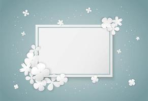 cadre blanc papier fleurs blanches vecteur