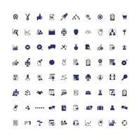 jeu d'icônes de grandes entreprises bleues vecteur