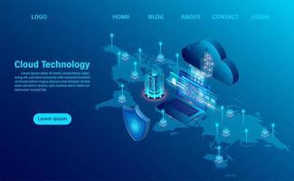 Cloud computing design bleu sur la carte