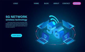 Page de destination du réseau sans fil 5d vecteur