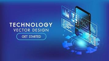 interface 3d isométrique de téléphone intelligent ou tablette vecteur