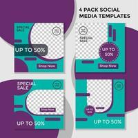 pack de cercle de bannière de médias sociaux violet et vert