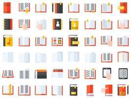 jeu d'icônes de livres et cahiers
