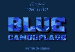 texte modifiable de camouflage bleu. vecteur