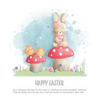 carte de Pâques avec mignon lapin et poussin vecteur