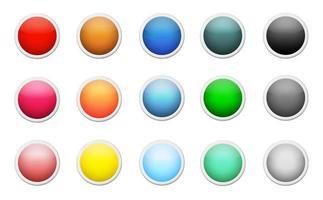 ensemble de boutons ronds de couleur vecteur