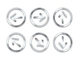 ensemble de boutons fléchés en métal brillant. vecteur