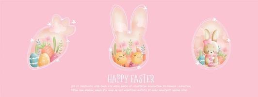 joyeux pâques rose bannière avec lapin et poussins vecteur