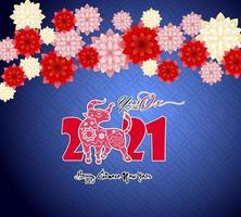 nouvel an chinois 2021 sur bleu vecteur