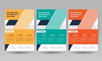 modèle de flyer d'affaires défini en 3 couleurs vecteur