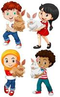 enfants avec des lapins