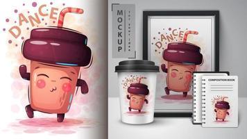 conception de tasse de café de danse vecteur