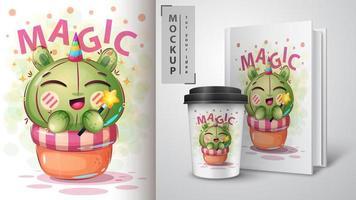 conception de cactus de licorne magique de dessin animé