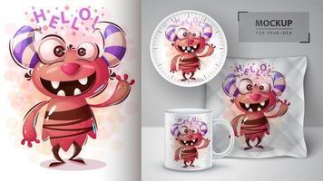 Bonjour dessin animé monstre rouge design