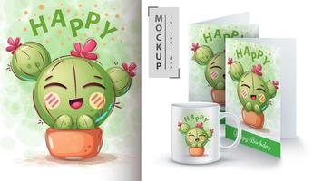 cactus avec fleur en pot design.
