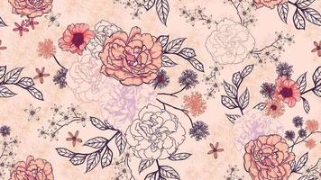 modèle sans couture de bouquet rose sur fond pastel vecteur