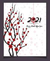 affiche du nouvel an chinois 2021 avec fleur de cerisier vecteur