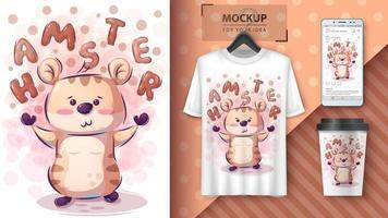 affiche et merchandising mignon hamster vecteur