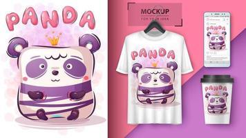 affiche panda mignon et merchandising vecteur
